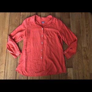 J JILL 100% Silk Orange Blouse Tabbed Sleeve